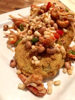 Fried Green Tomatoes with Crawfish Succotash