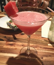 Watermelon Martini (before the Rosemary sprig was added)